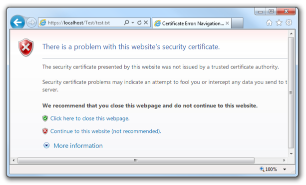 Screenshot of a certificate warning in IE7